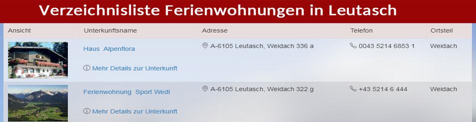 Verzeichnis der Feriewohnungen in Leutasch