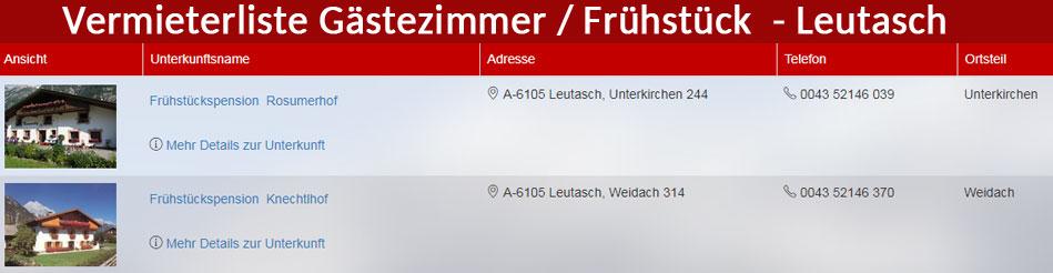Verzeichnis der Gästezimmer / Frühstückspensionen / Hotels in Leutasch